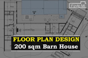 Creative Floor Plan Design of House 2D, 3D Drawings 14 - kwork.com