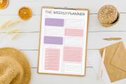Design planner journal calendar guide checklist habbit water tracker 6 - kwork.com